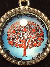 """Tree of Life Winter Red Hearts Charm Tibetan Silver with 18"""" Necklace A22"""
