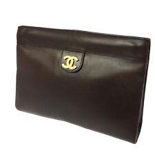 Auth CHANEL CC Clutch Bag Pouch Black Brown France Leather Vintage TG00182