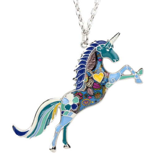 Enamel Alloy Jumping Horse Unicorn Necklace Pendant Jewelry For Women Kids Gifts