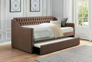 Miraculous Details About Brown Sofa Twin Bed Dorm Room Daybed With Trundle Bedroom Furniture Andrewgaddart Wooden Chair Designs For Living Room Andrewgaddartcom