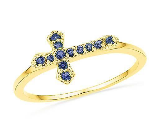 bluee Sapphire Cross Ring 10K Yellow gold Sideways Cross Ring .12ct - Lab Created
