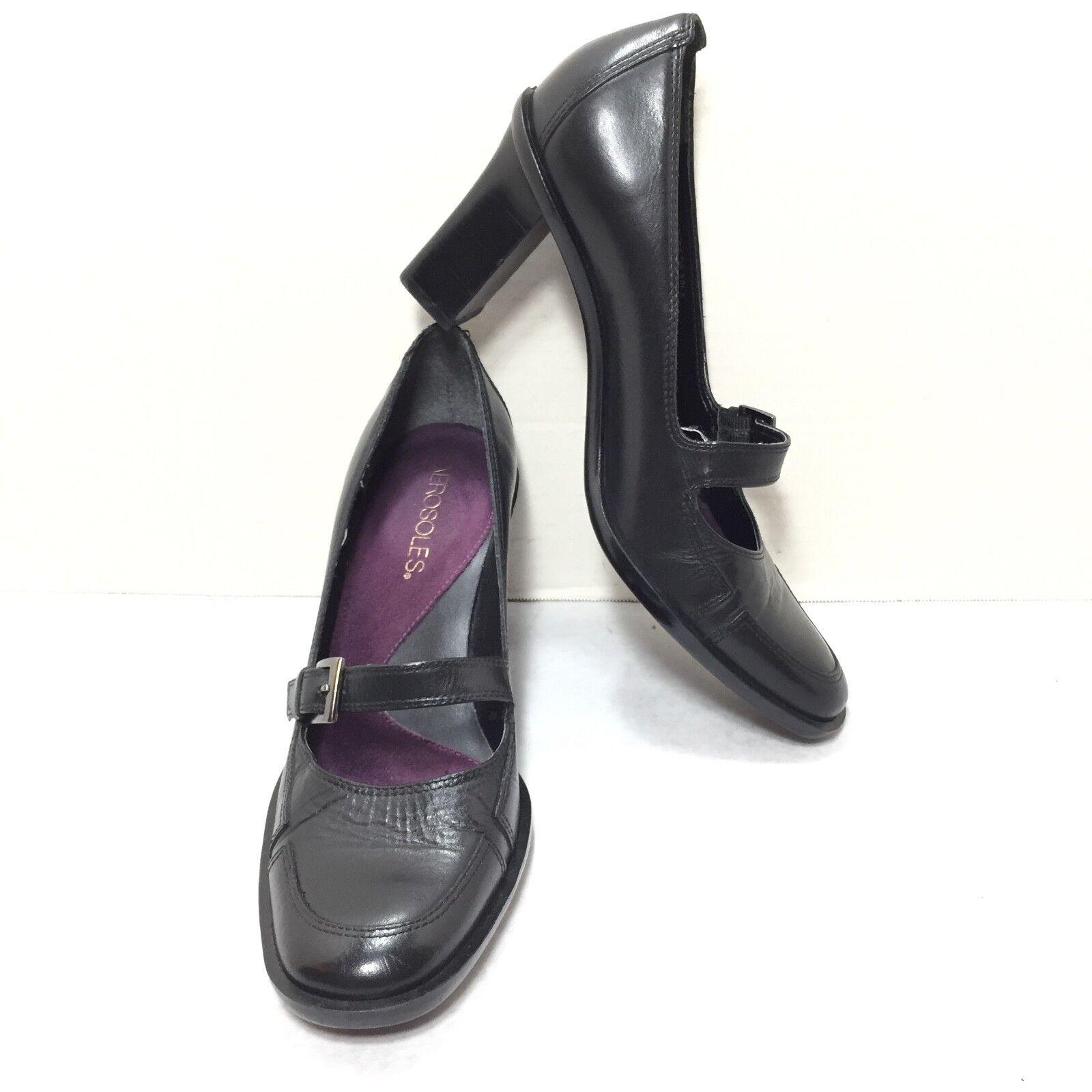 Women's Aerosoles Black Leather Mary Jane High Heel Pumps Size 5.5 B
