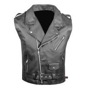 Men-039-s-Classic-Leather-Motorcycle-Biker-Concealed-Carry-Vintage-Vest-Black
