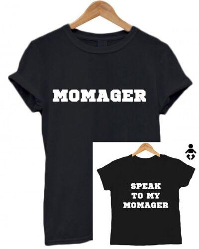 Baby Shower Momager// Speak to my Momager//  Mum /& Baby  Matching T Shirt Set