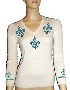 V Oh 100 S En Col Dor Bleu Cachemire Pull Blanc 34 ` Luxe Turquoise Rxqn186UU