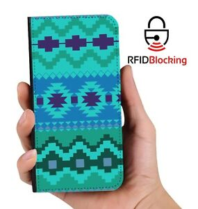 RFID-Protected-Aztec-Green-PU-Leather-Phone-Wallet-Case-Cover-for-Samsung-Galaxy