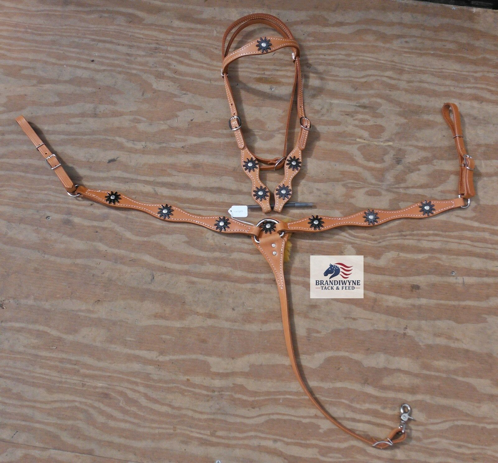 Harness leather set  w  spur rowel conchosNWOT  counter genuine