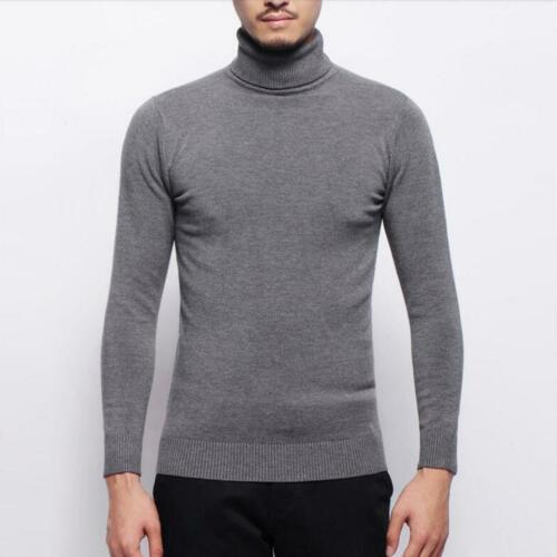 Mens Knitted Turtle Neck Pullover Sweater Jumper Casual Slim Knitting Top Coat