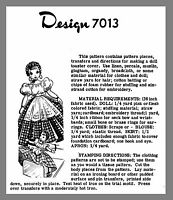Cute Vintage Transfer Toaster Doll Cover Apron Skirt Fabric Sew Pattern 7013