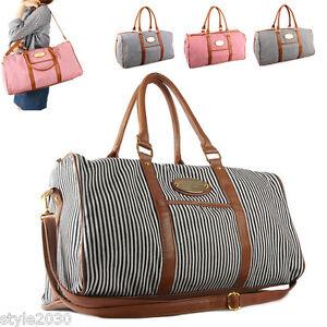 New Womens Ladies Stripe Shoulder Bag Tote Luggage Weekend