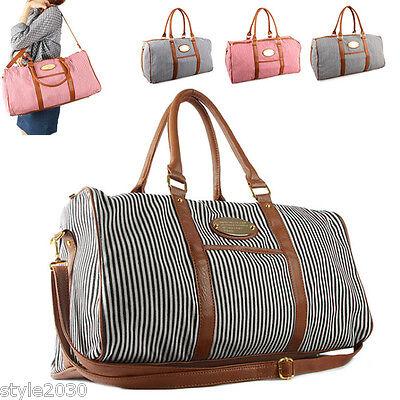 New Womens Ladies Stripe Shoulder Bag Tote Luggage Weekend Travel Bag Boston Bag
