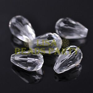New-10pcs-18X12mm-Big-Teardrop-Faceted-Spacer-Loose-Glass-Beads-Clear