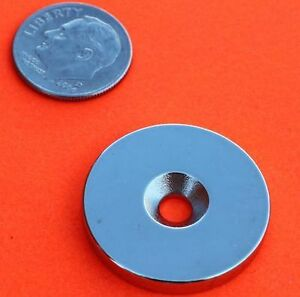 4 Pieces of 1x1/8 Inch Disc W/ Countersunk Hole Grade N42 Rare Earth Neodymium