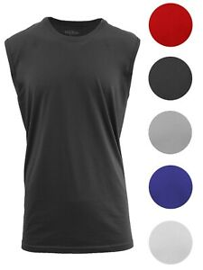 Men-039-s-Muscle-Tank-T-Shirt-Cotton-Tee-Colors-Workout-Fitness-Lounge-Gym-Running