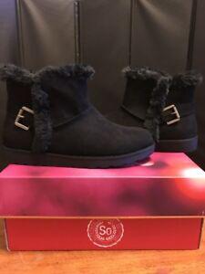 a8e3d3248c6 So Authentic American Heritage Women's Black Fur Trim Ankle Boots Sz ...
