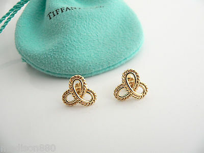 Tiffany & Co 18K Gold Twirl Flower Beaded Bead Earrings Studs Excellent Rare!