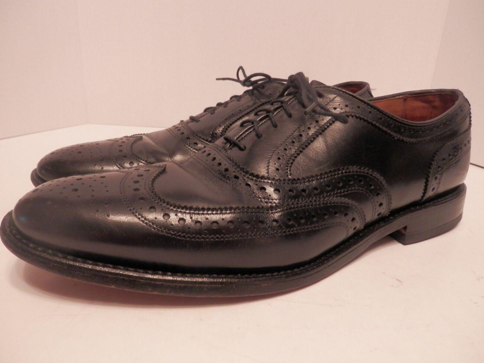 Allen Edmunds Fairhaven Black Leather Long Wing Brogue Oxfords-Mens 11C-Free Shi