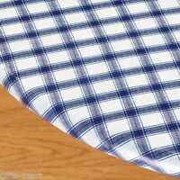 Blue Plaid Elastic Fitted Vinyl Outdoor 56 Round Patio Table Cover Tablecloth