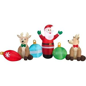 CHRISTMAS-BY-GEMMY-9-039-LIGHTED-SANTA-REINDEER-ORNAMENTS-SCENE-INFLATABLE-NEW