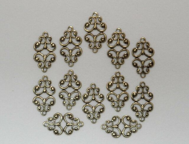 #1839 ANTIQUED GOLD OPEN FILIGREE 2 RING CONNECTOR - 12 Pc Lot