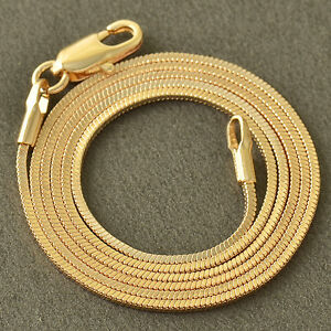 antique-9K-Yellow-Gold-Filled-Snake-Womens-Unisex-Chain-17-7-039-039-long-Necklace