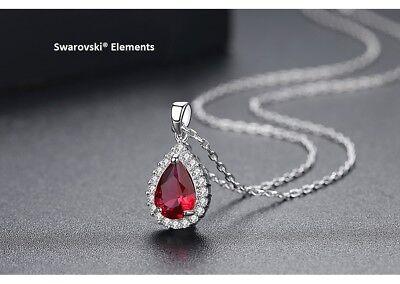collier pendentif ovale Swarovski® Elements zirconium rouge rubis +  pochette | eBay