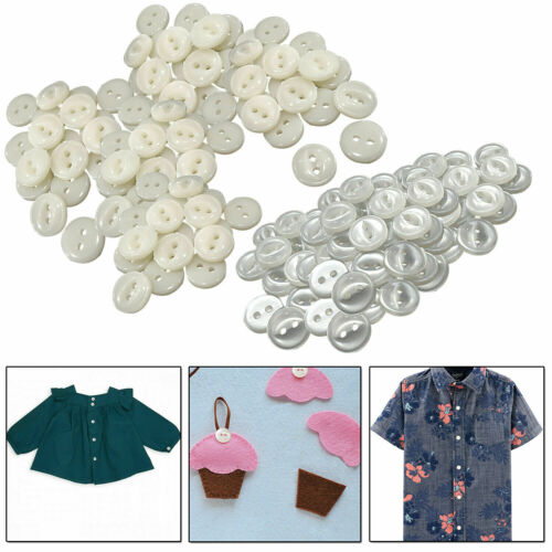 11mm Round Fish Eye Buttons 2 Hole Shiny Plastic Cream /& Ivory for Shirts Crafts