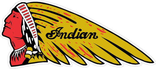 """#2215 4/"""" Indian Motorcycle Script Logo Decal Sticker Laminated Gold Chief"""