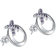 925 Sterling Silver Open Circle Round Kiss Cross Purple Crystal Stud Earrings 63