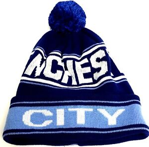 Image is loading Manchester-City-Hat-Football-Knitted-Pom-Pom-Bobble- 8eb8e008ed9d