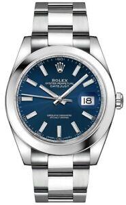 New-Rolex-Datejust-41-Ref-126300-Blue-Face-Men-039-s-Watch-Discount-Sale
