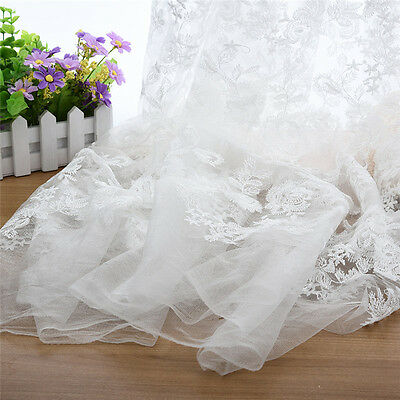 Rose Polyester Filament Embroidery Lace Fabric for High-end Wedding Dress 2 Yard