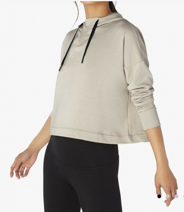 Authentic BEYOND YOGA Sedona Cropped Hoodie Size XS, Texas Taupe NWT