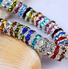 100Pcs Mixed Silver Plated Czech Crystal Spacer Rondelle Beads Charm 8mm