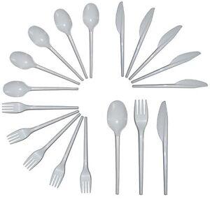 Caja de cubiertos de plástico-BLANCO tenedores cuchillos y cucharas 1 Fiesta Essentials 300 Pc
