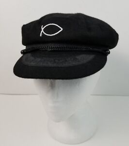 27579add1d66e Black Wool Blend Captain s Hat w  Jesus Fish Greek Fisherman Sailor ...