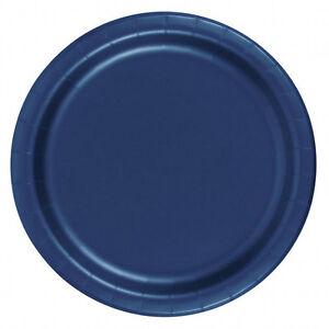24 plates 9 paper dinner lunch plates wax coated navy blue ebay. Black Bedroom Furniture Sets. Home Design Ideas