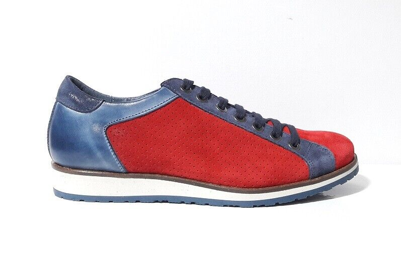 zapatos zapatillas hombres verde STEP GEKY 2748B PELLE CAMOSCIO azul rojo MADE ITALY
