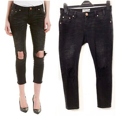 One Teaspoon Womens Vintage High Waisted Freebirds Jeans Black Oak