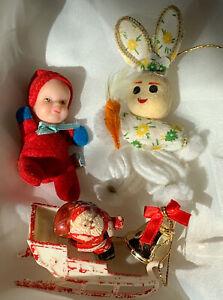Vintage Japan Tiny Baby Doll Santa & Sleigh Gold Mini Bell & Bunny Rabbit