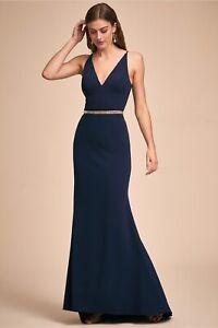 BHLDN-Jones-Maxi-Formal-Crepe-Dress-Midnight-Navy-Size-12