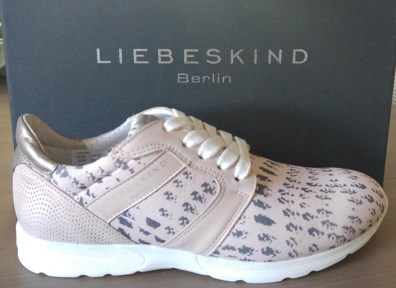 Nuevo liebeskind Berlin ls0096 zapatillas zapato bajo rosa metalizado PVP