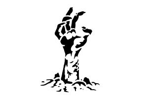 """Schablone /"""" Zombiehand1 /"""" auf A4"""