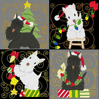 LIL TERRIER CHRISTMAS BLOCKS- 24 MACHINE EMBROIDERY DESIGNS (AZEB)