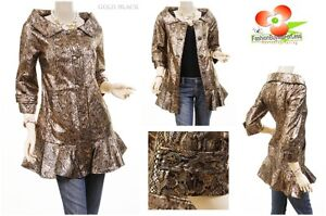 Gold Black Jr. Ruffle Hem Python Faux Suede Leather Retro Outerwear Jacket Coat