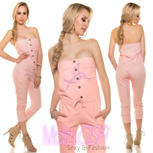 Overall tuta intera Donna MADE IN ITALY jumpsuit pantaloni cotone salopette Moda