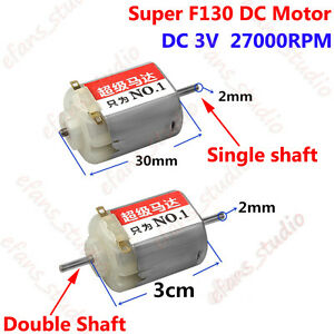 DC3V 27000RPM High Speed Magnetic Double Shaft F130 Motor For DIY Toy Racing Car