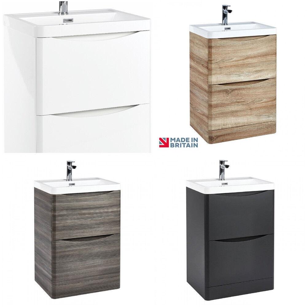Brilliant Details About Floor Standing Bathroom Vanity Unit Basin Sink Storage Cabinet Gloss White 600Mm Home Interior And Landscaping Oversignezvosmurscom