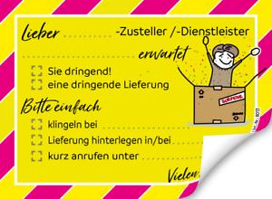 """Haftnotizen /""""Hinweis für Paket-//Telefon-Dienstleister/"""" Nie wieder umsonst warten"""