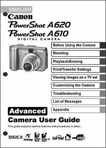 canon powershot a610 a620 digital camera user guide instruction rh ebay com Samsung Digital Camera User Manual Digital Camera Cases
